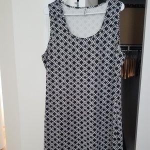 Black & White Hot Ginger Geometric Dress 2x
